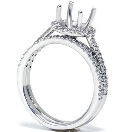 1/3CT Diamond Halo Engagement Ring Setting 14K White Gold (G/H, SI1-SI2)
