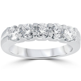 1ct Diamond Wedding Ring Anniversary Stackable Band 14K White Gold (H-I, I1-I2)