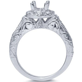 1/3ct Vintage Engagement Ring Setting 14K White Gold (G/H, I1-I2)