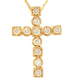 14K Yellow Gold 1ct Religious Diamond Cross Pendant (H/I, I1)