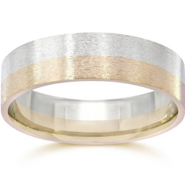 Brushed Two Tone Flat Wedding Band 14K Gold
