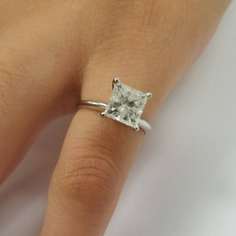 2ct Princess Cut Diamond Solitaire Engagement Ring 14K White Gold ((G-H), I2-I3)
