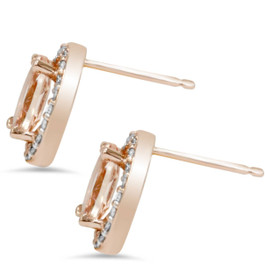 2 1/4ct Morganite Oval Shape Diamond Halo Studs 14K Rose Gold (K-L,I2-I3) (G/H, I2)