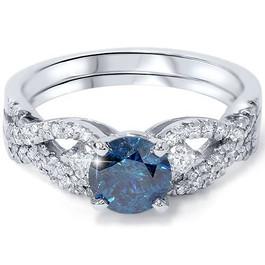 1 3/4ct Blue & White Diamond Infinity Engagement Ring Set 14K White Gold (G/H, I1)