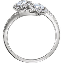 1.00CT Two Stone Forever Us Diamond Halo Ring 14k White Gold (F, VS)