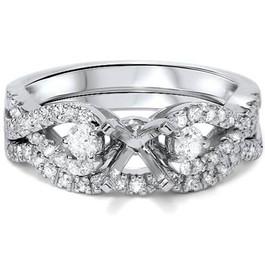 1/2ct Diamond Infinity Style Engagement Setting Set 14K White Gold (G/H, SI1-SI2)