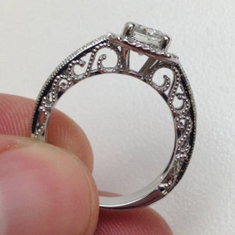 VVS 3/4 Cushion Halo Filigree Engagement Ring Setting 14K White Gold Setting Only (E/F, VVS2)