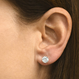 2ct Round Cut Diamond Screw Back Studs 14K White Gold (F, SI(2)-I(1))