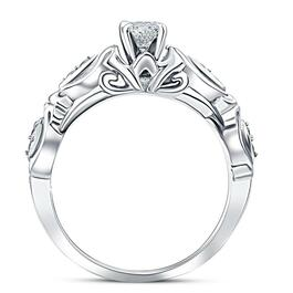 1/2ct Vintage Diamond Engagement Ring 14K White Gold (G/H, I1-I2)