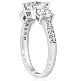 1 1/2ct Three Stone Round Diamond Engagement Ring 14K White Gold (H, SI2)