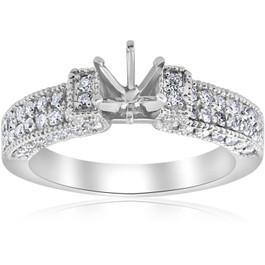 1 1/4ct Vintage Engagement Ring Setting 14K White gold (G/H, I1-I2)