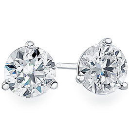 1/2ct Martini Screw Back Diamond Studs 14K White Gold (F, VS)