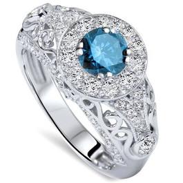 1 1/2ct Blue Diamond Vintage Engagement Ring 14K White Gold (H/I, I1)