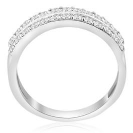 3/4ct Diamond Double Row Wedding Ring 14K White Gold (G/H, I1)