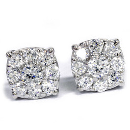 1 Carat Halo Diamond Studs 14K White Gold (H-I, I1-I2)