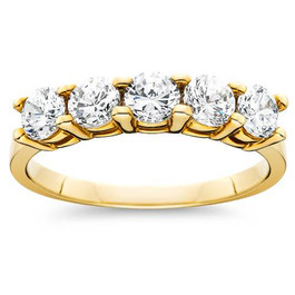 1ct Five Stone Diamond Ring 14K Yellow Gold (G/H, I2-I3)