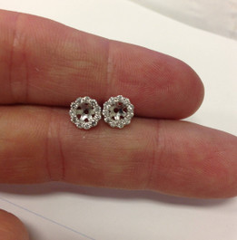 1/2ct Halo Diamond Earring Jackets 14K White Gold Fits 1/2ct Stones (5-5.5mm) (G-H, SI2)