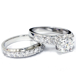 3ct Diamond Engagement Wedding Ring Set 14K White Gold (G/H, I1)