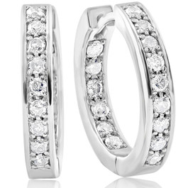 3/4 CT Diamond Inside Outside Hoops 14K White Gold (G/H, I2)