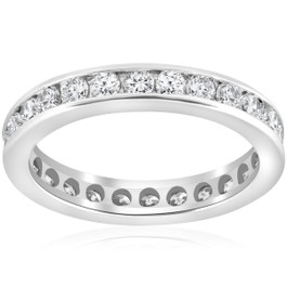 1 1/2ct Channel Set Diamond Eternity Ring 14K White Gold (G/H, I1)