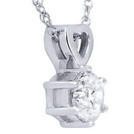 "1/2ct Solitaire Round Diamond Heart Pendant 14K White Gold & 18"" Chain ((G-H), SI(1)-SI(2))"