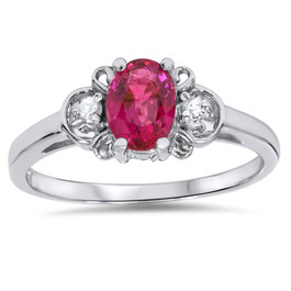 5/8ct Ruby & Diamond Ring 14K White Gold (G/H, SI2)