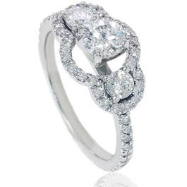 1 1/4 Ct Three Stone Diamond Engagement Ring 14K White Gold (G/H, I2)