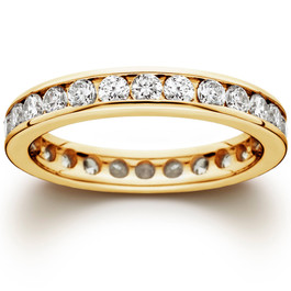 1 1/2 CT Channel Set Eternity Diamond Ring 14K Yellow Gold (G/H, I1)