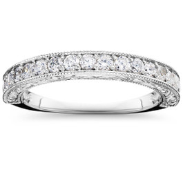 1/2 CT Vintage Natural Diamond Wedding Ring 14K White Gold (G/H, I1)