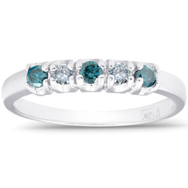 1/4ct Treated Blue & White Diamond 5-Stone Wedding Womens Ring 10K White Gold (G/H, I1-I2)