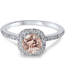 7/8ct Round Morganite & Diamond Cushion Halo Engagement Ring 14K White Gold (G/H, I2)