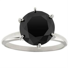 3ct Black Diamond Solitaire Engagement Ring 14K White Gold (Black, )