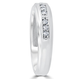 1/4Ct Mens Round Diamond Polished Wedding Ring 14k White Gold (I/J, I1-I2)