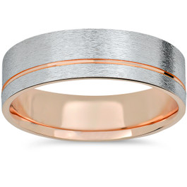 Mens  Two Tone Brushed 14k Rose & White Gold Wedding Band