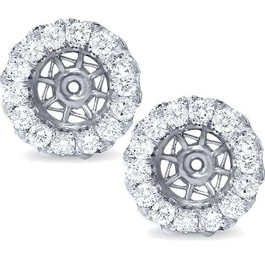 5/8ct Halo Diamond Earring Jackets 14K White Gold (G-H, SI2-SI3)