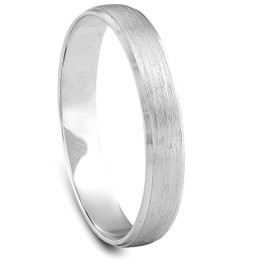 4mm Beveled & Brushed Wedding Band 14K White Gold
