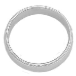 6mm Mens Milgrain Wedding Band 14K White Gold