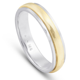 Ladies Platinum And 18k Gold Two Tone Comfort Fit Wedding