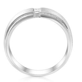 Mens 14K White Gold Brushed Princess Cut Diamond Wedding Ring (G, Vs)
