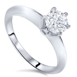 1/2ct Diamond Solitaire Engagement Ring 14K White Gold (G/H, I1-I2)