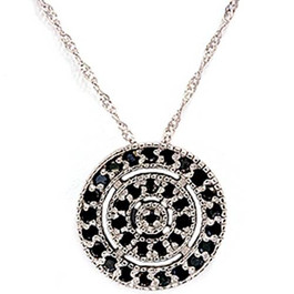 1/5ct Black Diamond Pave Circle Antique Pendant (Black, AAA)