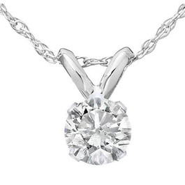 1/2ct Solitaire Diamond Pendant 14K White Gold (J/K, I2-I3)