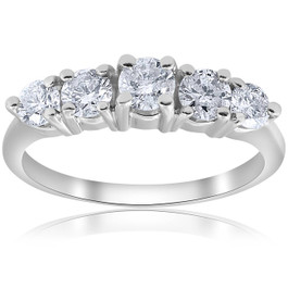 1 CT 5-Stone Graduated Diamond Ring 14K White Gold (H/I, I1-I2)