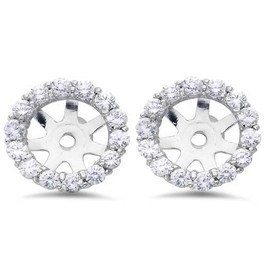 7/8ct Diamond Halo Earring Studs Jackets 14K White Gold Fit 1ct (6-6.7mm) (G-H, SI)