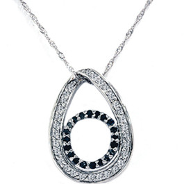 1/2ct Black Diamond Circle White Gold Pendant Necklace (G/H, I2)