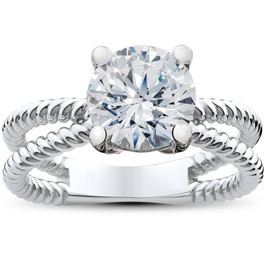 Solitaire Braided Lily Engagement Ring