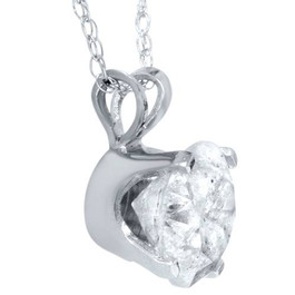 .90 Carat Solitaire Pendant Natural Diamond 14K White Gold Womens Necklace (H-I, I2-I3)