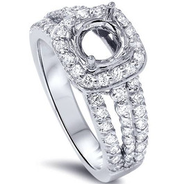 3/4ct Cushion Halo Diamond Engagement Ring Setting 14K White Gold (G/H, SI1-SI2)