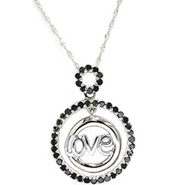 1/2ct Black Diamond White Gold Love Pendant Necklace (Black, AAA)