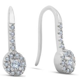 1/4ct Diamond Drop Earrings 14K White Gold (H, I2/I3)